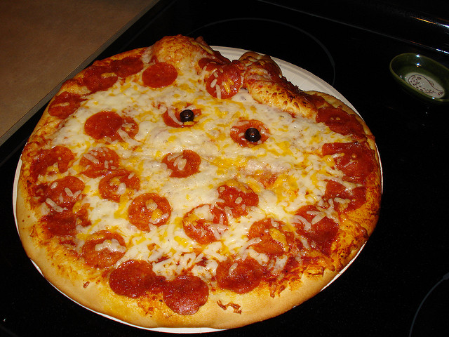 fully baked pizza